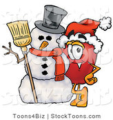Stock Cartoon of a Festive Red Apple Character Mascot Leaning on a Snowman at Christmastime by Toons4Biz