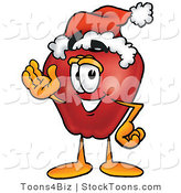 Stock Cartoon of a Festive Red Apple Character Mascot Wearing a Red and White Santa Hat and Waving by Toons4Biz