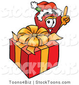 Stock Cartoon of a Festive Red Apple Character Mascot with a Christmas Gift by Toons4Biz