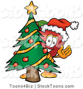 Stock Cartoon of a Festive Red Apple Character Mascot with a Decorated Green Christmas Tree by Toons4Biz