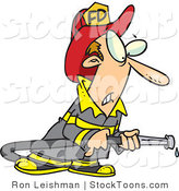 Stock Cartoon of a Fireman in Uniform, Holding a Hose by Toonaday