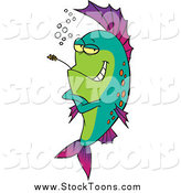 Stock Cartoon of a Fish Chewing on Straw by Toonaday