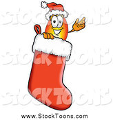 Stock Cartoon of a Flame Character Wearing a Santa Hat Inside a Red Christmas Stocking by Toons4Biz