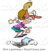 Stock Cartoon of a Flustered Woman Jumping on a Laptop by Ron Leishman