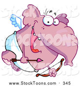 August 17th, 2015: Stock Cartoon of a Flying Pink Pachyderm Cupid by Hit Toon