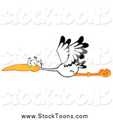 Stock Cartoon of a Flying Stork Bird by Hit Toon