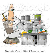 Stock Cartoon of a Food Health Inspector in a Nasty Kitchen by Dennis Cox