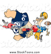 Stock Cartoon of a Football Player Tackling Another by Ron Leishman