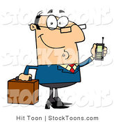 Stock Cartoon of a Friendly Caucasian Businessman by Hit Toon