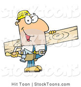 Stock Cartoon of a Friendly Caucasian Construction Worker by Hit Toon