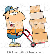 Stock Cartoon of a Friendly Caucasian Delivery Man by Hit Toon