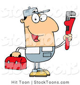 Stock Cartoon of a Friendly Caucasian Plumber by Hit Toon