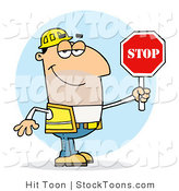 Stock Cartoon of a Friendly Caucasian Traffic Director by Hit Toon