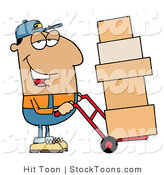 Stock Cartoon of a Friendly Hispanic Delivery Man by Hit Toon
