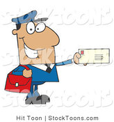 Stock Cartoon of a Friendly Hispanic Mail Man by Hit Toon
