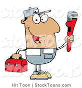 Stock Cartoon of a Friendly Hispanic Plumber by Hit Toon