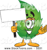 Stock Cartoon of a Friendly Leaf Mascot Cartoon Character Holding a Blank White Sign by Toons4Biz