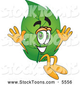 Stock Cartoon of a Friendly Leaf Mascot Cartoon Character Jumping by Toons4Biz
