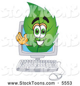 Stock Cartoon of a Friendly Leaf Mascot Cartoon Character on a Computer Screen by Toons4Biz