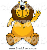 Stock Cartoon of a Friendly Lion Sitting and Waving by Cory Thoman
