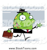 Stock Cartoon of a Friendly Monster Businessman Waving by Hit Toon
