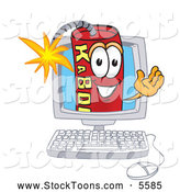 Stock Cartoon of a Friendly or Outgoing Dynamite Mascot Cartoon Character on a Computer Screen by Toons4Biz