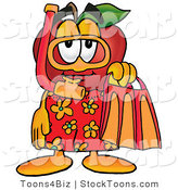 Stock Cartoon of a Friendly Red Apple Character Mascot in Orange and Yellow Snorkel Gear by Toons4Biz