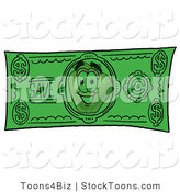 Stock Cartoon of a Friendly Red Apple Character Mascot on a Green Dollar Bill by Toons4Biz