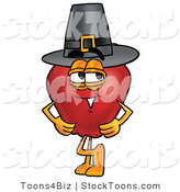 Stock Cartoon of a Friendly Red Apple Character Mascot Wearing a Pilgrim Hat on Thanksgiving by Toons4Biz