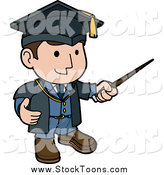 Stock Cartoon of a Friendly White Male Teacher in a Graduation Cap and Blue Uniform, Waving Around a Pointer Stick While Teaching Class by AtStockIllustration