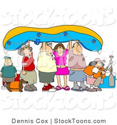 Stock Cartoon of a Friends and Family Holding up a Raft by Dennis Cox