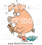 Stock Cartoon of a Full Stuffed Pig Eating Junk Food by Toonaday