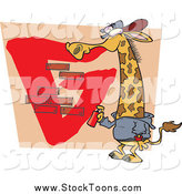Stock Cartoon of a Gangster Giraffe Spray Painting a G on a Wall by Toonaday