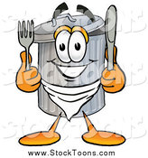 Stock Cartoon of a Garbage Can with Silverware by Toons4Biz