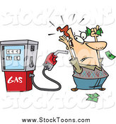 Stock Cartoon of a Gas Pump Holding up a Man by Ron Leishman