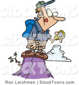 Stock Cartoon of a Geocaching Man by Toonaday