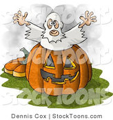 Stock Cartoon of a Ghost Jumping out of a Halloween Pumpkin by Djart