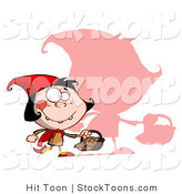 Stock Cartoon of a Girl, Little Red Riding Hood by Hit Toon