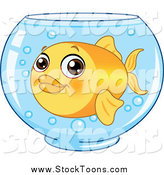 Stock Cartoon of a Goldfish in a Glass Bowl by Yayayoyo