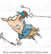 Stock Cartoon of a Golfer Being Hit by a Golf Ball by Ron Leishman