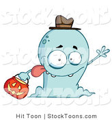 Stock Cartoon of a Goofy and Friendly Blue Ghost by Hit Toon