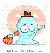 Stock Cartoon of a Goofy Blue Toothy Ghost Sticking His Tongue out by Hit Toon