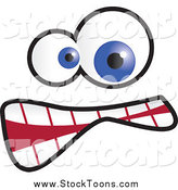 Stock Cartoon of a Goofy Face with Blue Eyes by Prawny