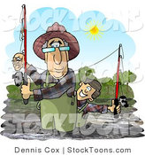 Stock Cartoon of a Grandpa Fishing with His Grandson by Dennis Cox