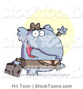 Stock Cartoon of a Gray Elephant Business Guy in a Hat and Suit by Hit Toon