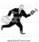 Stock Cartoon of a Grayscale Businessman Running with a Briefcase and Tablet by Hit Toon