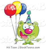 Stock Cartoon of a Green Birthday Bear by Hit Toon