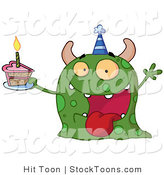 Stock Cartoon of a Green Birthday Monster by Hit Toon