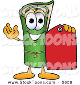 Stock Cartoon of a Green Carpet Mascot Cartoon Character Holding a Red Price Tag on White by Toons4Biz