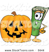 Stock Cartoon of a Green Carpet Mascot Cartoon Character with a Carved Halloween Jack O Lantern Pumpkin by Toons4Biz